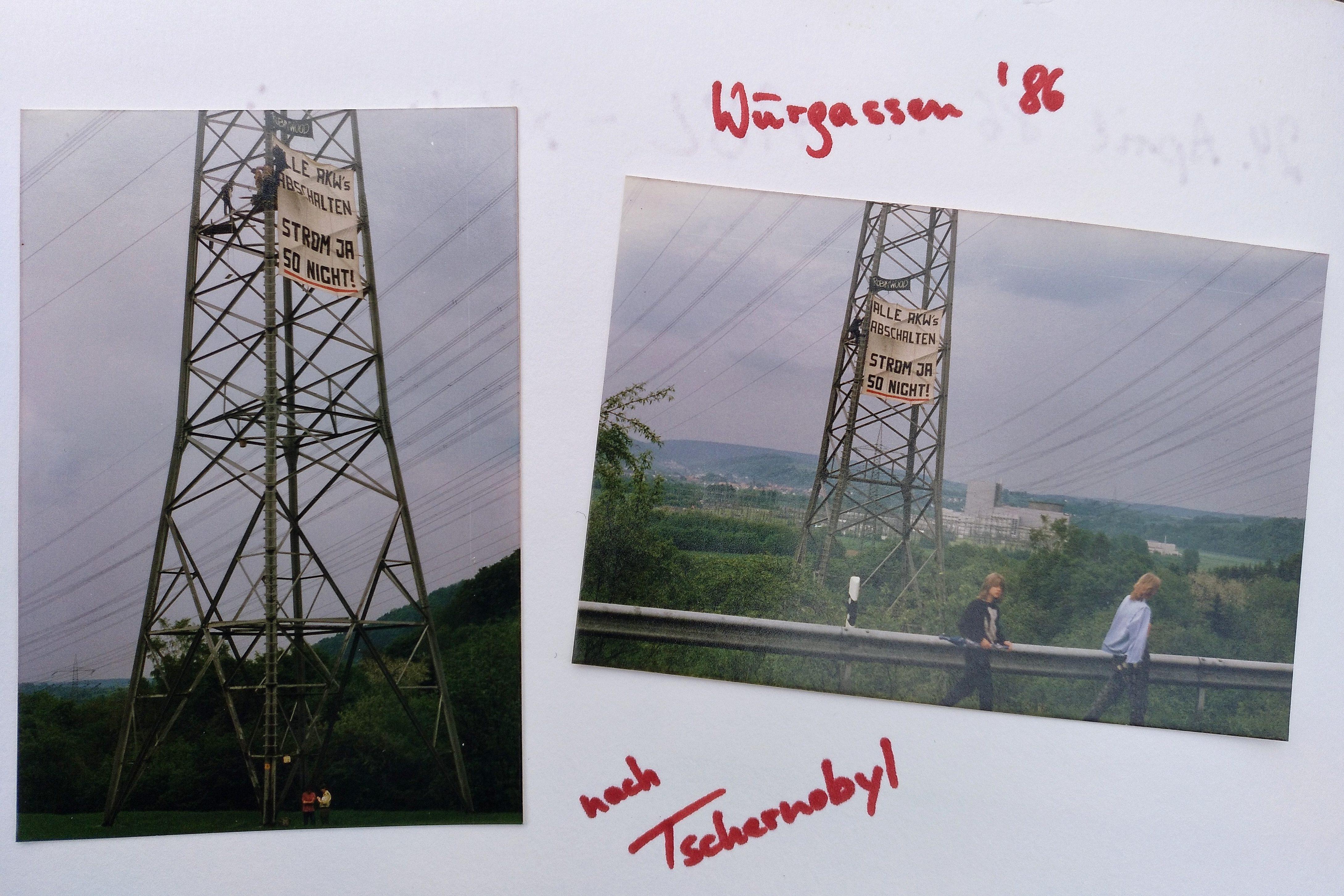 """Aktivisten der Organisation """"Robin Wood"""" besetzten Strommasten am Atomkaft Würgassen."""